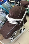 Санки-коляска PIKATE Снеговик (коричневый) -