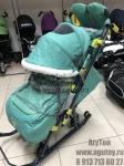 !!Санки-коляска НИКА 7-3 (в джинсовом стиле, зеленый)