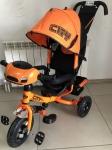 !!!Трехколесный велосипед City H7 (оранжевый) - MINI TRIKE 3-х кол. вел. Заяц (НАДУВ.КОЛЕСА)