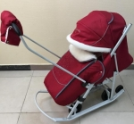 Санки-коляска PIKATE Снеговик (бордовый)